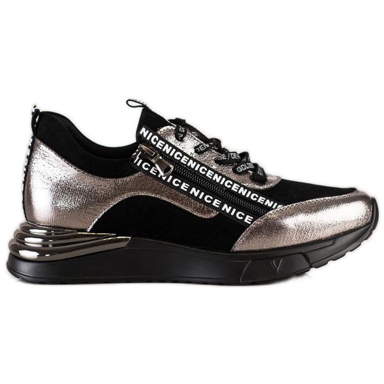 Sneakersy Z Suwakiem VINCEZA czarne złoty