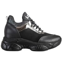 SHELOVET Modne Sneakersy Na Koturnie Love czarne