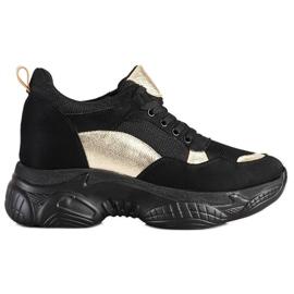 SHELOVET Wygodne CZARNO-ZŁOTE Sneakersy czarne złoty