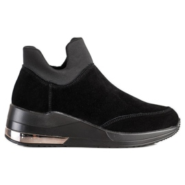 Filippo Skórzane Sneakersy Na Suwak czarne