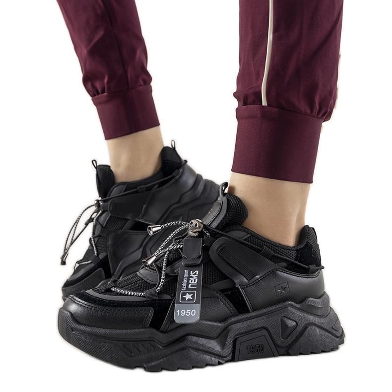 Czarne sneakersy damskie Temida