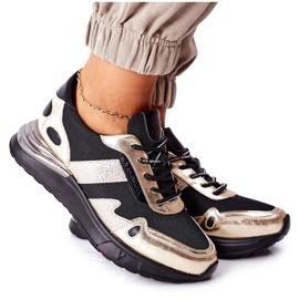 Vinceza Sportowe Damskie Buty Sneakersy Czarno Złote Manitoba czarne złoty