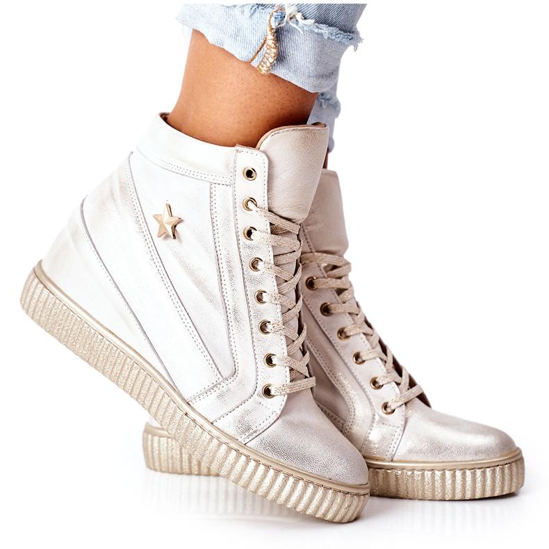 Lewski Shoes Damskie Sportowe Skórzane Buty Lewski Złote 3079 złoty