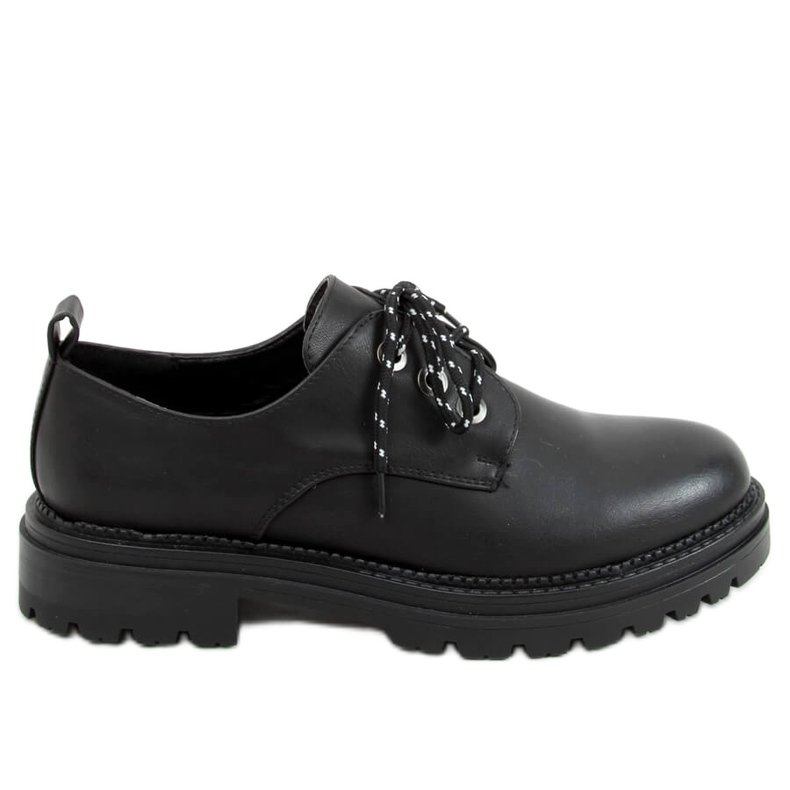 Mokasyny sznurowane czarne 9586 Black