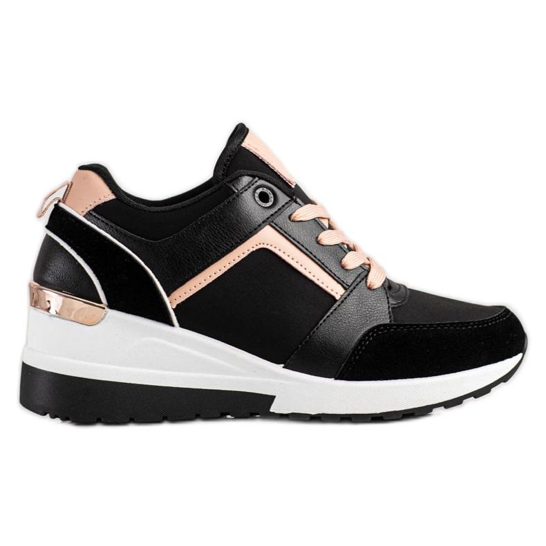 SHELOVET Sneakersy Na Koturnie czarne