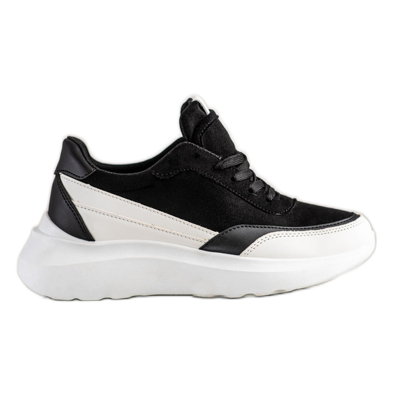 SHELOVET Czarne Zamszowe Sneakersy