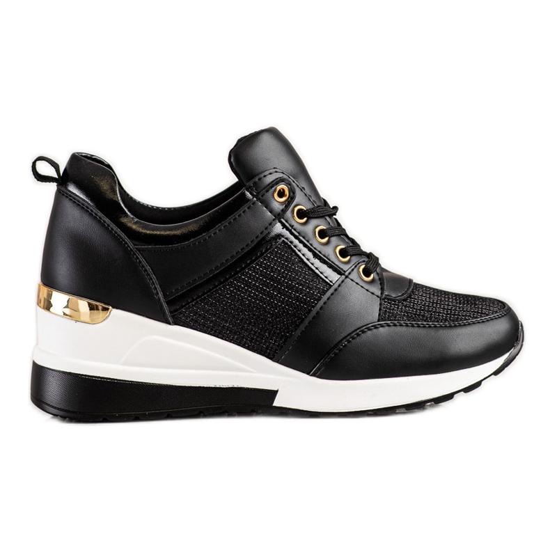Diamantique Czarne Sneakersy Na Koturnie