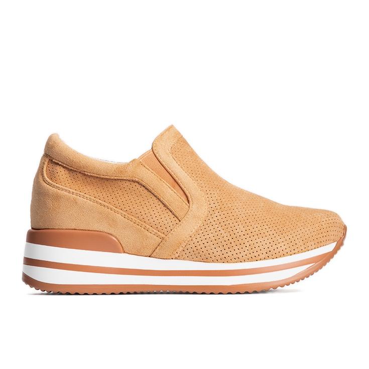 Pomarańczowe sneakersy na koturnie Miny