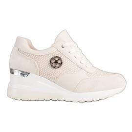 SHELOVET Lekkie Sneakersy Na Koturnie beżowy