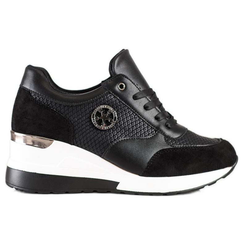 SHELOVET Lekkie Sneakersy Na Koturnie czarne