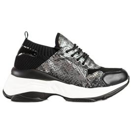 SHELOVET Wsuwane Sneakersy Snake Print czarne