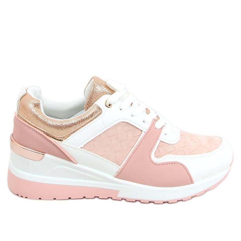 Buty sportowe na koturnie wielokolorowe AD-353 Pink różowe