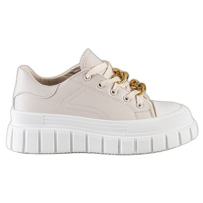 SHELOVET Sneakersy Z Łańcuchem Fashion beżowy