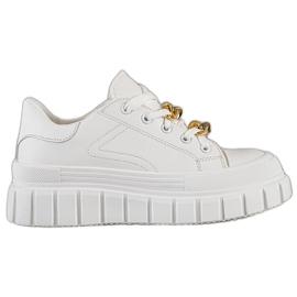 SHELOVET Sneakersy Z Łańcuchem Fashion białe