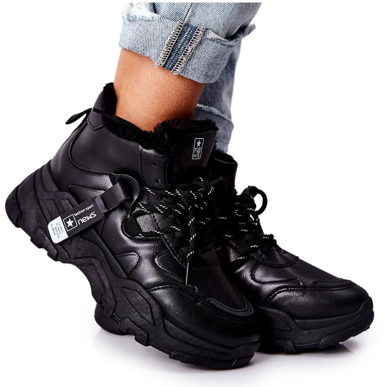 PE1 Damskie Ocieplane Sneakersy Śniegowce Czarne Kaphia