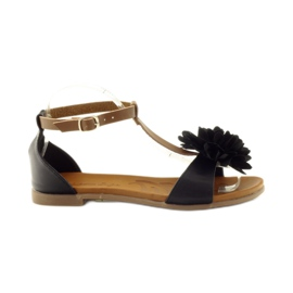 Sandały gladiatorki Hengst 227405 czarne brązowe
