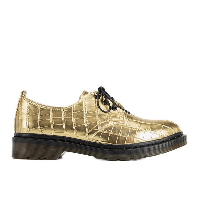 Złote oksfordy w motywie skóry krokodyla Flaure złoty
