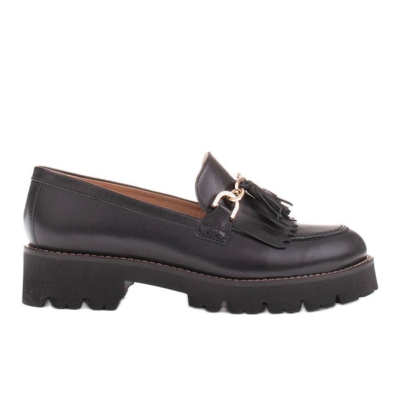 Marco Shoes Mokasyny ze złotym łańcuchem na lekkiej podeszwie czarne