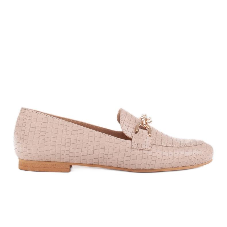Marco Shoes Baleriny ze złotym łańcuchem beżowy
