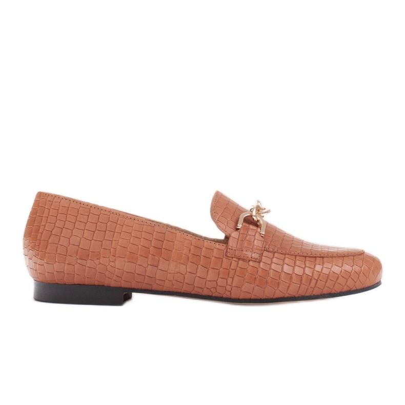 Marco Shoes Baleriny ze złotym łańcuchem brązowe