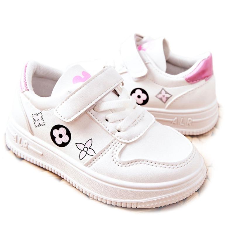 Dziecięce Sportowe Buty Na Rzepy Biało Różowe Aletris białe