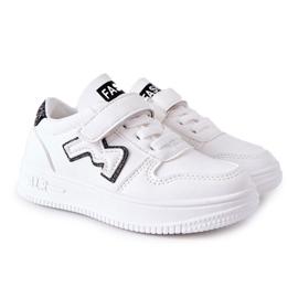 Dziecięce Sportowe Buty Na Rzepy Biało Czarne Santi białe