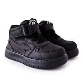 PA1 Dziecięce Wysokie Ocieplane Buty Sportowe Czarne Clafi