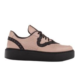 Marco Shoes Lekkie sneakersy z naturalnej skóry beżowy