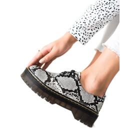 Sweet Shoes Półbuty Na Platformie Snake Print białe czarne
