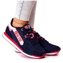 Skórzane Sportowe Buty Big Star II274270 Granatowe białe czerwone