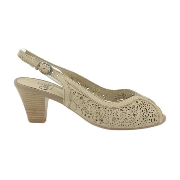Caprice sandały buty damskie ażurowe 29606 brązowe