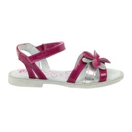 Sandałki buty dziecięce z kwiatkiem Ren But 4166 szare różowe