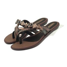 Ipanema Klapki buty damskie japonki z kamieniami Grendha brązowe
