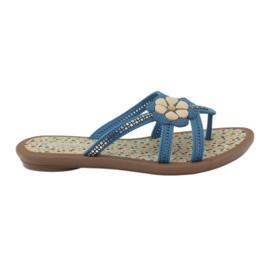 Rider niebieskie Klapki buty dziecięce japonki z kwiatkiem do wody Grendha
