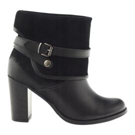 Czarne klasyczne buty damskie botki zimowe Edeo 1754