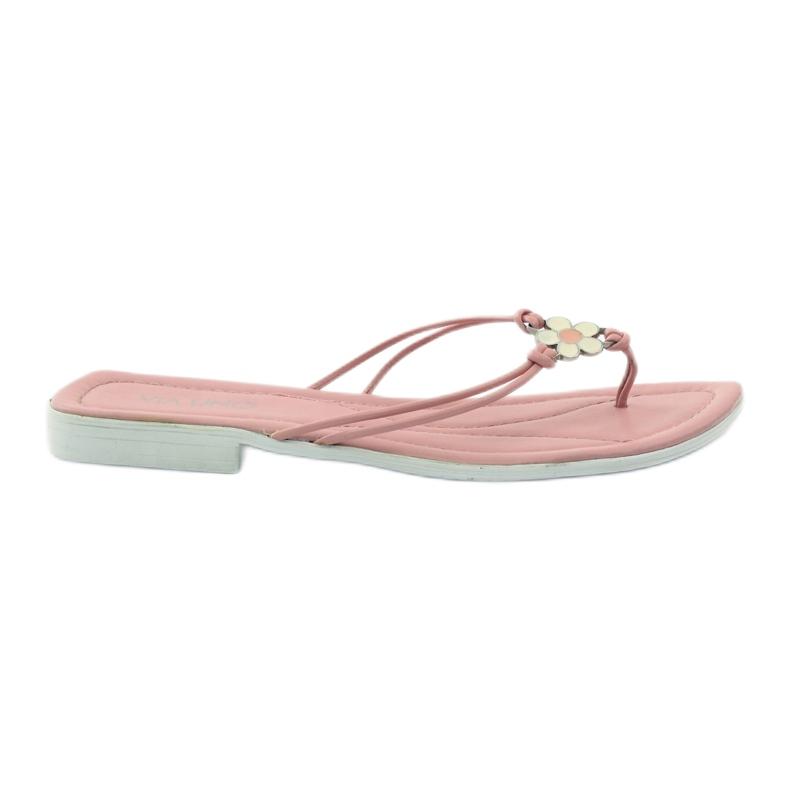 Via-Nova Klapki buty damskie japonki Via Uno różowe białe