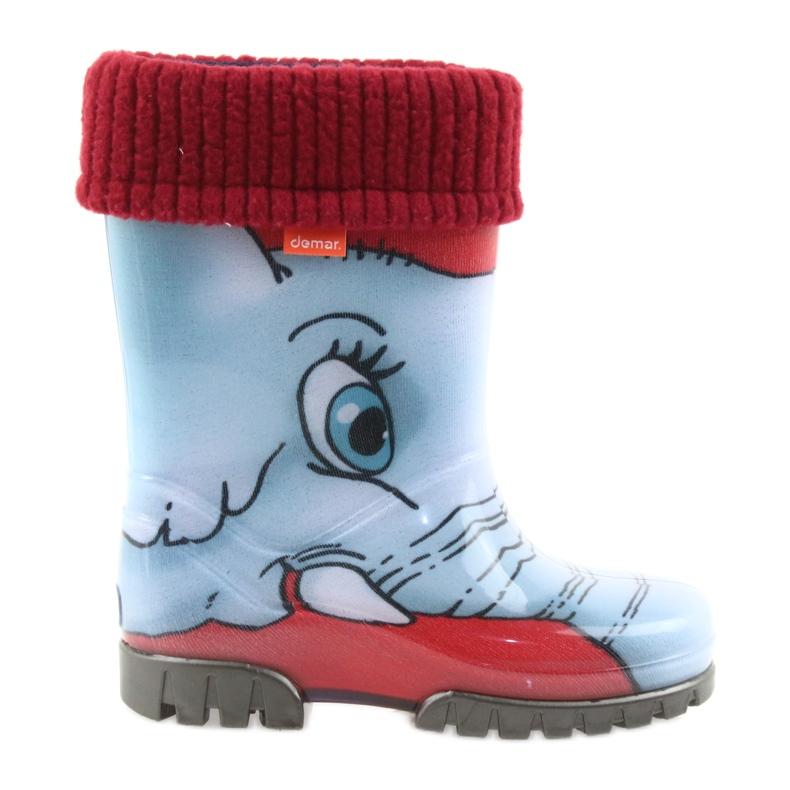 Demar buty dziecięce kalosze ze skarpetą niebieskie szare czerwone
