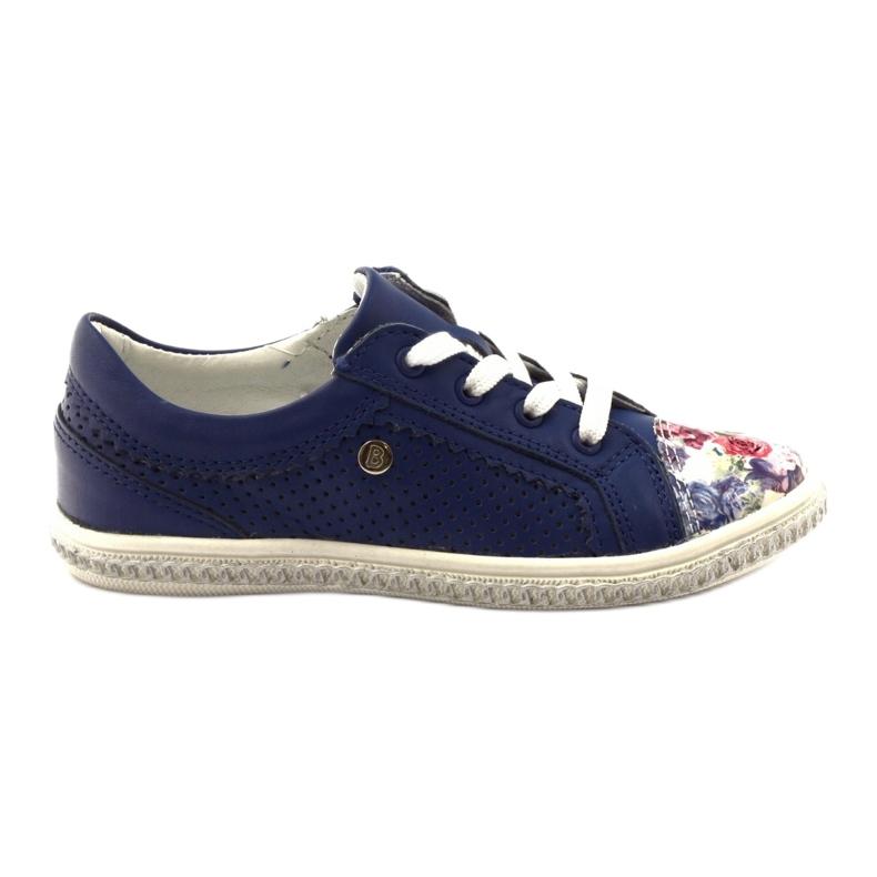 Granatowe buty dziecięce w kwiatki Bartek 85524