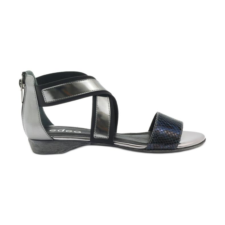 Sandały gladiatorki  Edeo 2195 czarne/srebr szare