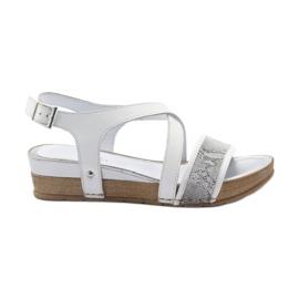 Sandały gladiatorki klamerka Aeros 031B szare białe