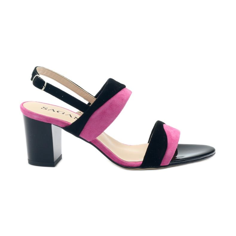 Sandały damskie Sagan 2687 czarne fuksja różowe