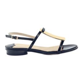 Sandały damskie ozdoba złota Sagan 2698 czarne