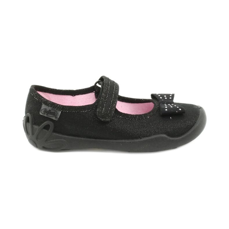 Befado obuwie dziecięce kapcie balerinki 114x240 czarne srebrny