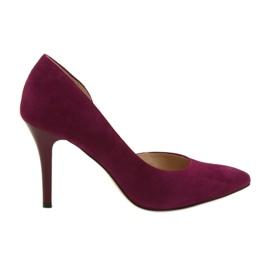 Czółenka buty damskie zamszowe Anis wiśniowe
