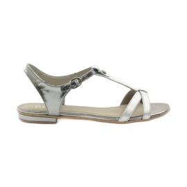 Sandały damskie EDEO wz.3087 srebrne szare