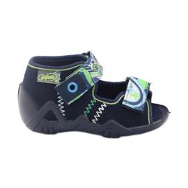 Befado obuwie dziecięce kapcie sandałki 250p058 granatowe zielone