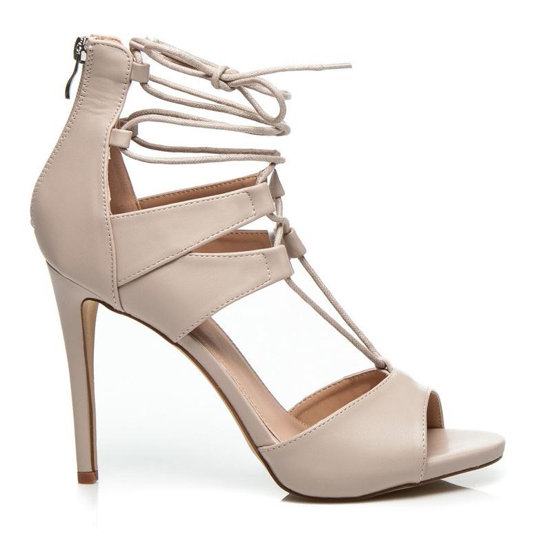 Wilady Seksowne, wiązane sandały brązowe