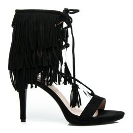 Randbe Wiązane sandały boho czarne