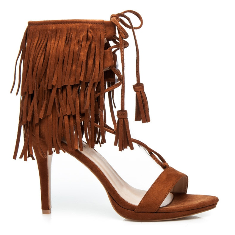 Randbe Wiązane sandały boho brązowe