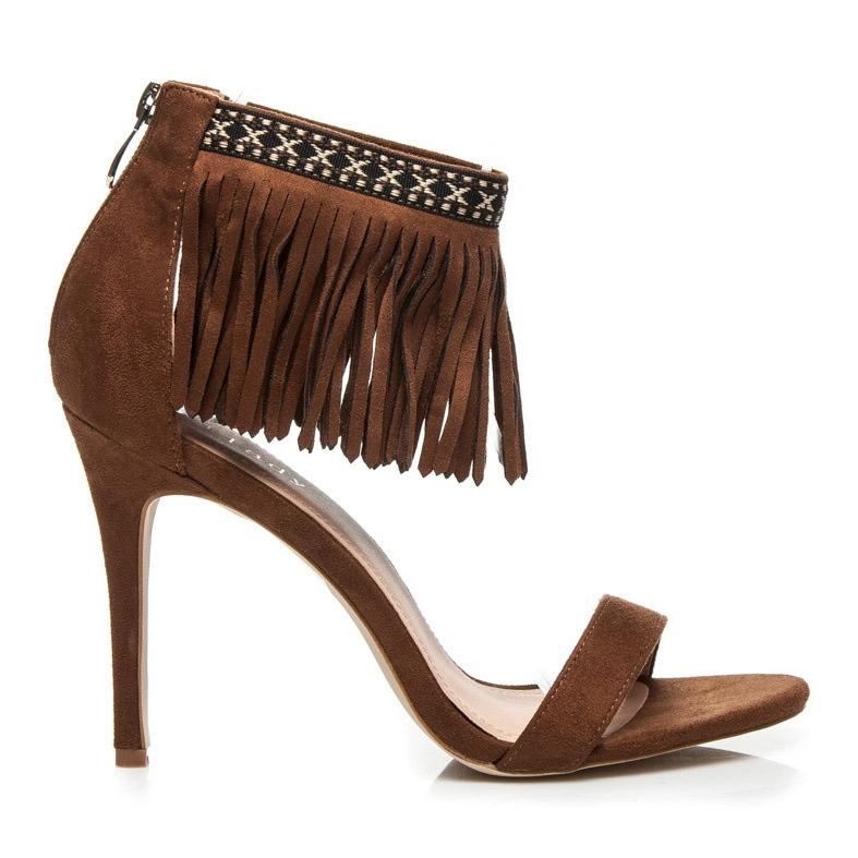 Wilady Karmelowe sandały boho brązowe